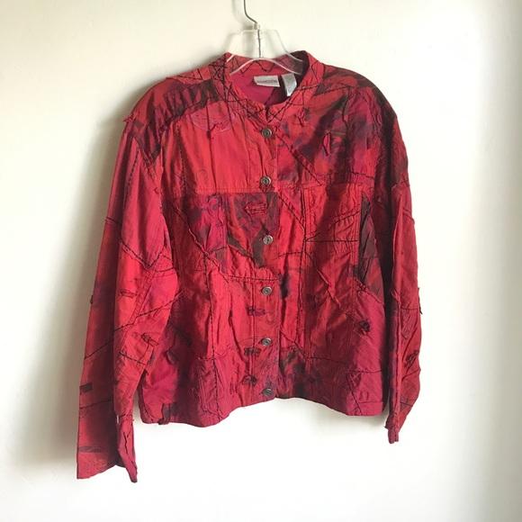 Chico's Jackets & Blazers - Chico's Red Silk Short Patchwork Jacket Size 3
